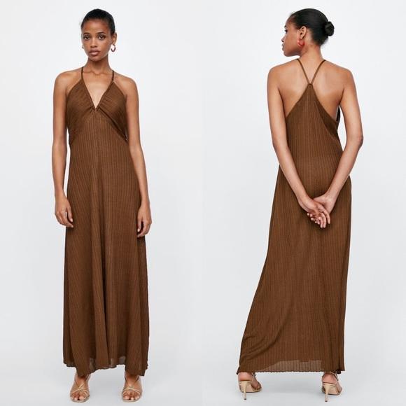 d541f9d7 Zara Dresses | Knit Maxi Dress With Draped Neckline | Poshmark
